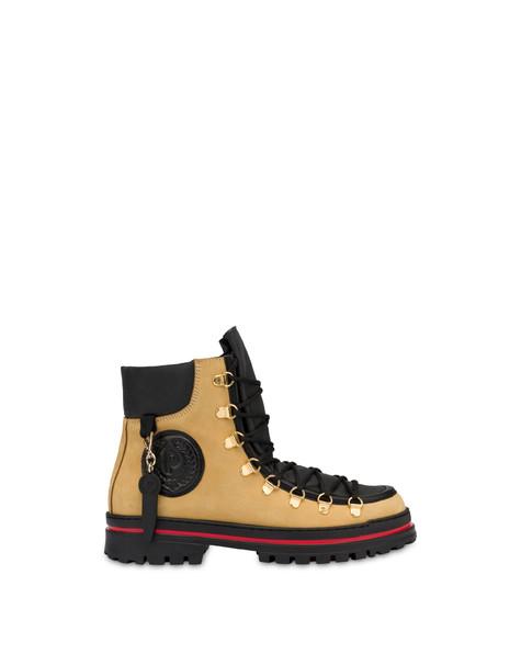 Pollini Ice Cracker boots in nubuck and calfskin WAFER/BLACK/BLACK