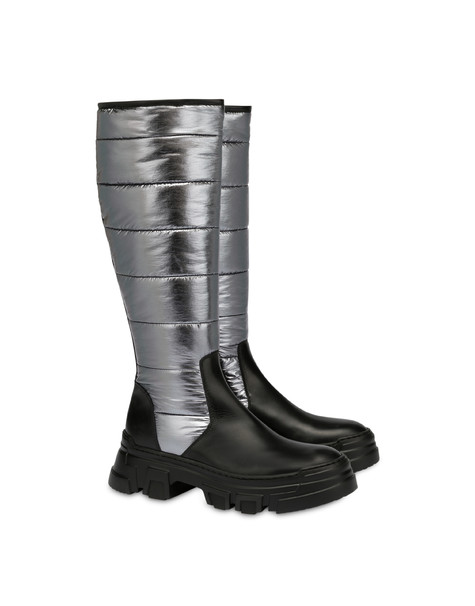Boots in padded nylon and Shiny Tank calf leather BLACK/GUN