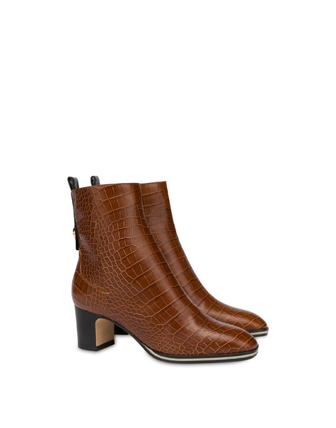 Marne crocodile print calf leather ankle boots WAFER/BLACK