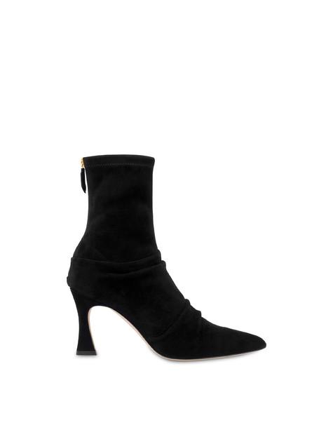 Plissé stretch suede ankle boots BLACK