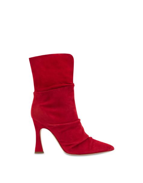 Plissé suede ankle boots GARNET