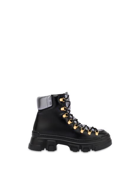 Shiny Tank calf leather pedule shoes BLACK/GUN