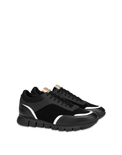 Court leather and calf leather sneakers BLACK/BLACK/WHITE/BLACK/BLACK