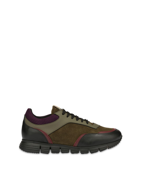 Court leather and calf leather sneakers SAGE/BLACK/WINE/SAGE/WINE