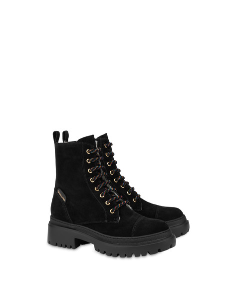 Combat boot in Mountain Forest split leather BLACK