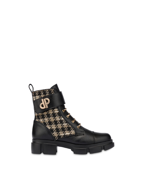 Combat boot in calfskin and houndstooth Twin P Manish WAFER/BLACK