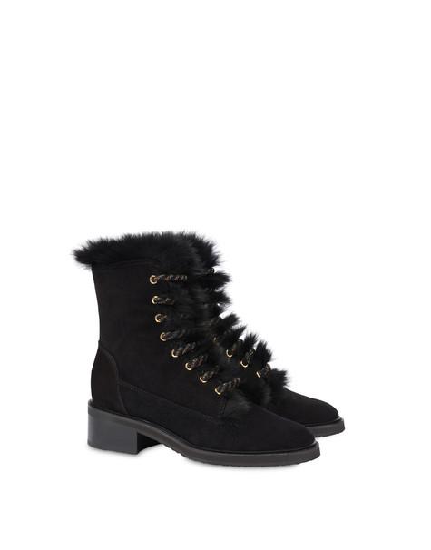 Uniform split leather boots BLACK/BLACK