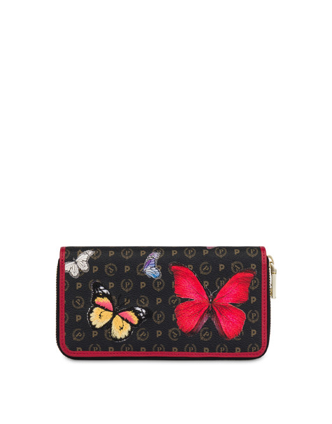 Heritage Butterfly Collection zip around wallet BLACK/RED