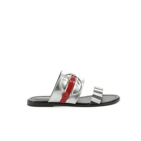 Sandali Nero-bianco/argento/papavero
