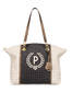 Shopping bag Ivory/black/bronze