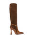 Arco suede leather and python print leather boots Coffee/burned