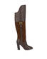 High boots in suede and Cabiria Buckle calfskin Coffee/coffee