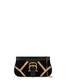 Nataly X Pollini Suede clutch bag with rhinestones Black/black/nude
